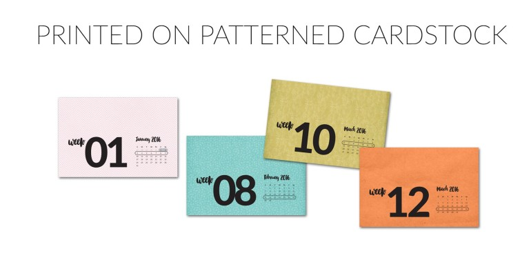 Weekly Title Cards printed on patterned paper
