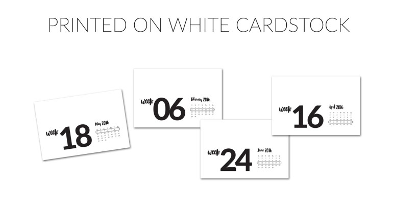 Weekly Title Cards printed on white cardstock
