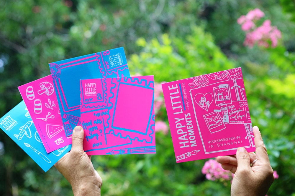 Happy Little Moments postcards, stickers and flyer